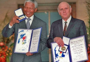 Image result for de klerk mandela nobel prize